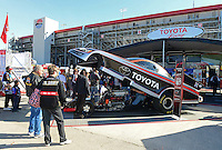 Oct. 27, 2012; Las Vegas, NV, USA: NHRA Toyota display during qualifying for the Big O Tires Nationals at The Strip in Las Vegas. Mandatory Credit: Mark J. Rebilas-