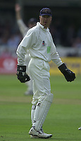 Photo Peter Spurrier.31/08/2002.Cheltenham & Gloucester Trophy Final - Lords.Somerset C.C vs YorkshireC.C..Yorkshire batting;  Somerset wicketkeeper and Captain, Rob Turner