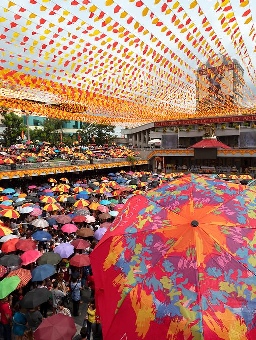 Street photography Cebu city and Mactan island, Philippines Basilica Minore del Santo Niño, Church mass prior the Sinalog Festival