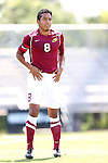 31 August 2014: Elon's Miguel Salazar (MEX). The Elon University Phoenix played the Loyola Marymount University Lions at Koskinen Stadium in Durham, North Carolina in a 2014 NCAA Division I Men's Soccer match. Elon won the game 1-0.