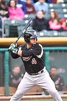 Jose Martinez (4) of the Sacramento River Cats at bat against the Salt Lake Bees at Smith's Ballpark on April 3, 2014 in Salt Lake City, Utah.  (Stephen Smith/Four Seam Images)