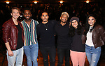 """Kyle Weiler, Deon'te Goodman, Anthony Lee Medina, Terrance Spencer, Gabriella Sorrentino and Lauren Boyd during the eduHAM Q & A before The Rockefeller Foundation and The Gilder Lehrman Institute of American History sponsored High School student #EduHam matinee performance of """"Hamilton"""" at the Richard Rodgers Theatre on October 30, 2019 in New York City."""