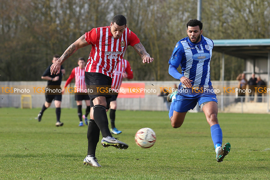Leon McKenzie of Hornchurch with a shot on goal during Ware vs AFC Hornchurch, Ryman League Division 1 North Football at Wodson Park on 11th March 2017