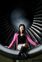 Yan Yan, 31, Aircraft System Engineer is pictured in an Aircraft Maintenance &amp; Engineering Corporation workshop in the Beijing International Airport, China.<br /> <br /> By Ricky Wong / Sinopix