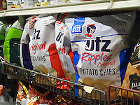 A display of Utz brand potato chips are seen in a supermarket in New York on Friday, April 25, 2015.  (© Richard B. Levine)