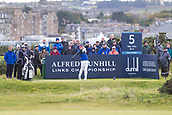 5th October 2017, The Old Course, St Andrews, Scotland; Alfred Dunhill Links Championship, first round; Tyrrell Hatton teeing off on the fifth