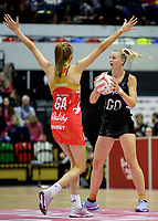 20.01.2018 Katrina Grant of Silver Ferns takes on Helen Housby of the England Roses during the Netball Quad Series netball match between England Roses and Silver Ferns at the Copper Box Arena in London. Mandatory Photo Credit: ©Ben Queenborough/Michael Bradley Photography