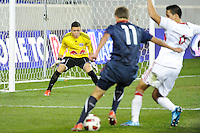 Goalkeeper Santiago Castano (1) of the New York Red Bulls stares down Marc Pelosi (11) of the USA. The USMNT U-17 defeated New York Red Bulls U-18 4-1 during a friendly at Red Bull Arena in Harrison, NJ, on October 09, 2010.