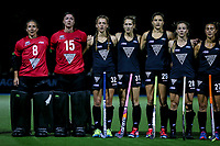 L_R: Sally Rutherford, Grace O'Hanlon, Madison Doar, Stacey Mikelsen, Jenny Storey, Shiloh Gloyn and Jordan Grant during the international hockey match between the Blacksticks Women and India, Rosa Birch Park, Pukekohe, New Zealand. Tuesday 16  May 2017. Photo:Simon Watts / www.bwmedia.co.nz