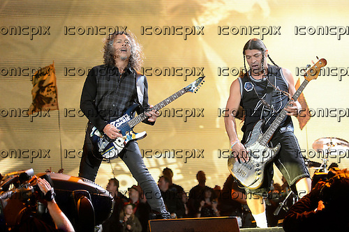 METALLICA - performing live on Day 3 on the Pyramid Stage at the 2014 Glastonbury Festival at Pilton Farm Somerset UK - 28 Jun 2014.  Photo credit: George Chin/IconicPix