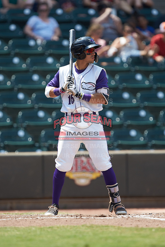 Laz Rivera (16) of the Winston-Salem Dash at bat against the Buies Creek Astros at BB&T Ballpark on July 15, 2018 in Winston-Salem, North Carolina. The Dash defeated the Astros 6-4. (Brian Westerholt/Four Seam Images)