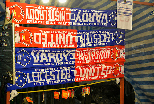 28.11.2015. King Power Stadium, London, England. Barclays Premier League. Leicester City versus Manchester United. Vardy Nistelrooy Half and Half scarves on sale before kick off.
