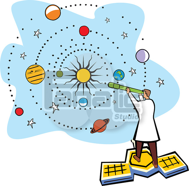 Scientist standing on a satellite and analysis solar system