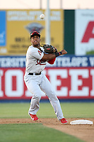 Fernery Ozuna (2) of the Visalia Rawhide throws to first base after forcing the runner out at second base during a game against the Lancaster JetHawks at The Hanger on August 9, 2017 in Lancaster, California. Lancaster defeated Visalia, 7-4. (Larry Goren/Four Seam Images)