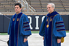 May 20, 2018; 2018 Judge and Sérgio Moro and University of Notre Dame President Rev. John I. Jenkins, C.S.C., walk to the stage before the 2018 Commencement ceremony.  (Photo by Barbara Johnston/University of Notre Dame)