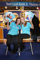 ***NO FEE PIC*** 28/01/2011 Denise Mulhall & Michelle Osburne from Thomas Cook during the Holiday World Show in the RDS which runs from Friday 28th Jan - Sunday 30th Jan, Dublin. Photo: Gareth Chaney Collins