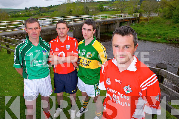 Sporting their county colours for a special 7 aside football tournament  on May 21st organised by Mountcollins  GAA pictured here at the 3 counties on the River Feale, pictured l-r: Eric O'Connor(Mountcollins), T J O'Connor(Rockchapel), Mike Finnegan(Brosna) and Con Begley(Mountcollins)..Contact Eric O'Connor @ 0872230580.
