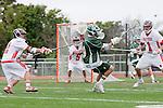 Palos Verdes, CA 04/20/10 - Marcus Egeck (Mira Costa #9), Geoffrey Lowe (Palos Verdes #1) and Zach Henkhaus (Palos Verdes #12) in action during the Mira Costa-Palos Verdes boys lacrosse game.