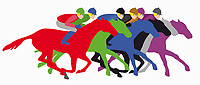 Multicoloured horses and jockeys in horse race