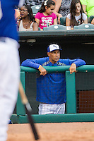 Oklahoma City Dodgers hitting coach Franklin Stubbs (21) watches the action during the Pacific Coast League baseball game against the Nashville Sounds on June 12, 2015 at Chickasaw Bricktown Ballpark in Oklahoma City, Oklahoma. The Dodgers defeated the Sounds 11-7. (Andrew Woolley/Four Seam Images)