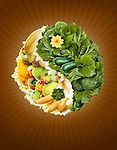 Illustration of variety of fruits and vegetables in yin yang symbol over brown background