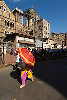 Mumbai, early morning rushhour outside the railway station central Mumbai,India