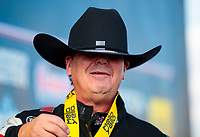 Oct 20, 2019; Ennis, TX, USA; NHRA top fuel driver Billy Torrence reacts as he celebrates after winning the Fall Nationals at the Texas Motorplex. Mandatory Credit: Mark J. Rebilas-USA TODAY Sports