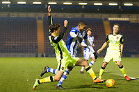 Craig Woodman of Exeter City puts Mikael Mandron of Colchester United under pressure during Colchester United vs Exeter City, Sky Bet EFL League 2 Football at the JobServe Community Stadium on 24th November 2018