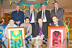 KERRY CLUBS JERSEYS: Presenting over 80 Kerry GAA Club Jerseys to Kerry General Hospital that will be displayed on the Hospital walls on Thursday front l-r: ASK JIM, Paul Galvin, Colm Cooper and Darren O'Sullivan. Back l-r: Joe Wallace, Eamon Wallace (chairman C.C.C.), Jerome Conway (chairman Kerry County Board) and Jason Kenny (deputy manager K.G.H.).