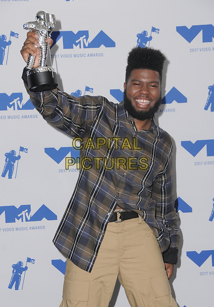 27 August  2017 - Los Angeles, California - Khalid. 2017 MTV Video Music Awards - Press Room, held at The Forum in Los Angeles. <br /> CAP/ADM/BT<br /> &copy;BT/ADM/Capital Pictures