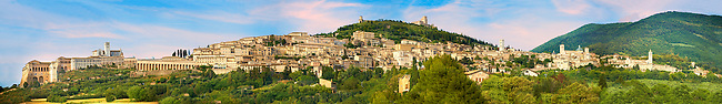 Panoramic view of Assisi aith the Papal Basilica of St Francis of Assisi, ( Basilica Papale di San Francesco ) Assisi, Italy