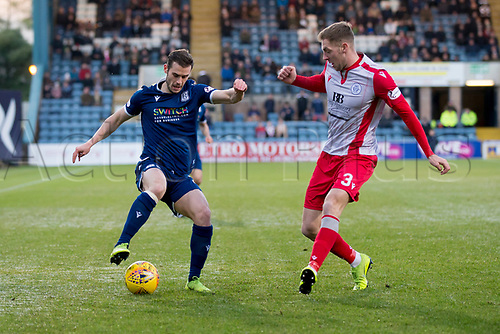 30th November 2019; Dens Park, Dundee, Scotland; Scottish Championship Football, Dundee Football Club versus Queen of the South; Josh Todd of Dundee takes on Kevin Holt of Queen of the South  - Editorial Use