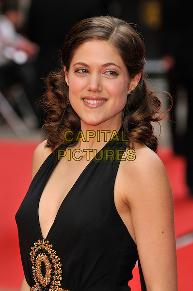 CHARITY WAKEFIELD.Red Carpet Arrivals for the British Academy Television Awards 2008, held at the London Palladium, London, England, April 20th 2008. .BAFTA BAFTA's portrait headshot black halterneck low cut gold.CAP/PL.©Phil Loftus/Capital Pictures