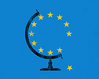 Star falling from European Union globe ExclusiveImage
