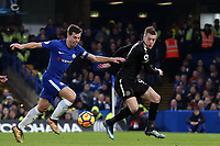 Jamie Vardy of Leicester city and Cesar Azpilicueta of Chelsea during Chelsea vs Leicester City, Premier League Football at Stamford Bridge on 13th January 2018