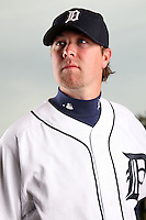 February 27, 2010:  Pitcher Phil Dumatrait (67) of the Detroit Tigers poses for a photo during media day at Joker Marchant Stadium in Lakeland, FL.  Photo By Mike Janes/Four Seam Images