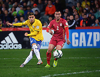Brazil's Andreas Pereira scores the equaliser during the FIFA Under-20 Football World Cup Final between Brazil (gold) and Serbia at North Harbour Stadium, Albany, New Zealand on Saturday, 20 June 2015. Photo: Dave Lintott / lintottphoto.co.nz