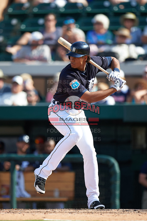 Detroit Tigers right fielder Steven Moya (33) at bat during an exhibition game against the Florida Southern Moccasins on February 29, 2016 at Joker Marchant Stadium in Lakeland, Florida.  Detroit defeated Florida Southern 7-2.  (Mike Janes/Four Seam Images)