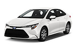2020 Toyota Corolla-Hybrid LE 4 Door Sedan Angular Front stock photos of front three quarter view