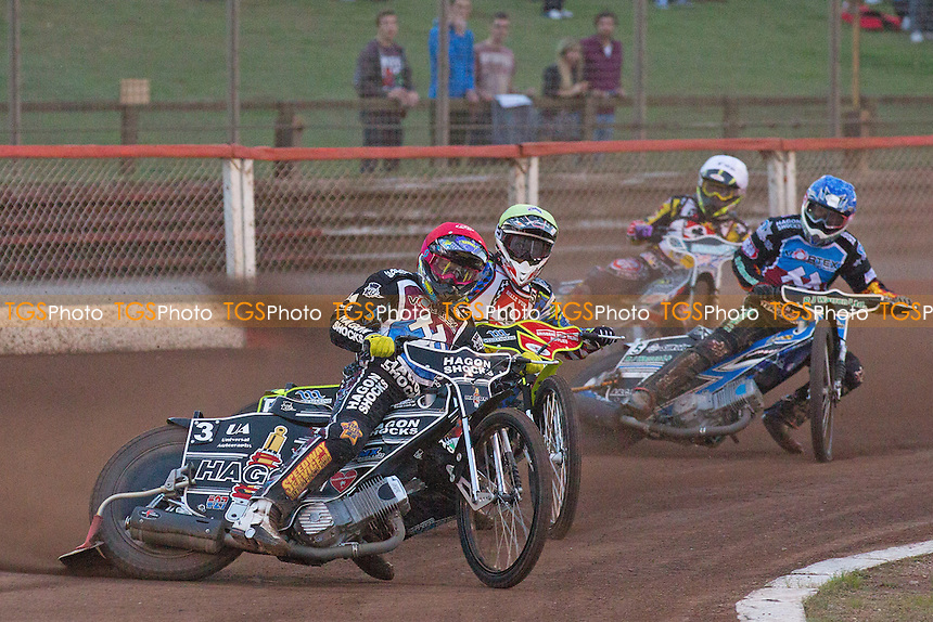 Lewis Bridger of Lakeside Hammers leads a closely fought heat 3 - Lakeside Hammers vs Belle Vue Aces - Elite League Speedway at Arena Essex - 15/08/14 - MANDATORY CREDIT: Ray Lawrence/TGSPHOTO - Self billing applies where appropriate - contact@tgsphoto.co.uk - NO UNPAID USE