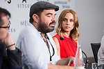 Director Xavier Gens and actress Aura Garrido during press conference of 'La Piel Fria' at Sitges Film Festival in Barcelona, Spain October 11, 2017. (ALTERPHOTOS/Borja B.Hojas)