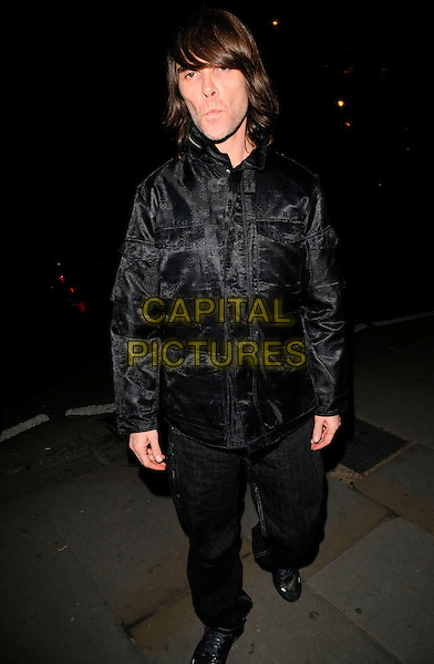 IAN BROWN.The Dom Perignon Vintage Champagne party, The Landau restaurant, London, England..February 26th, 2008.full length black jacket jeans denim .CAP/CAN.©Can Nguyen/Capital Pictures.