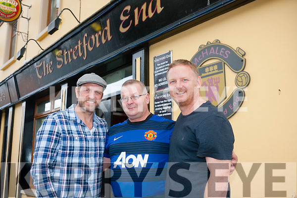 Football<br /> -----------<br /> Pictured outside McHales Stratford End bar,Causeway last Saturday afternoon were John McHale (centre) with  former Manchester United soccer stars Lee Sharpe  and David May