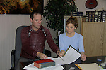 "In their Lawyer Office starring Robert Bogue ""Mario Cash"" and Mandy Bruno ""Danielle Kelly"" - ""Rock Story"" (rock n' roll mystery ensues and unleases band rise to national fame) - screen play by Guiding Light's Robert Bogue and Mandy Bruno. Rock Story which was shot almost all in Orange County has just finished filming in late January. It will be the feature film in the 2014 Hoboken International Film Festival on May 30 (with the festival continuing through June 5) at the Paramount Theatre in Middletown, New York. (Photo by Sue Coflin/Max Photos)"