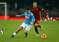 Napoli's Lorenzo Insigne  during the  italian serie a soccer match,between SSC Napoli and AS Roma       at  the San  Paolo   stadium in Naples  Italy ,December 13, 2015