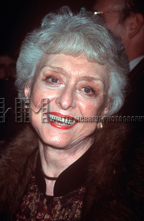 """Celeste Holm in New York City at the opening night of """"Noises Off"""" at the Brooks Atkinson Theatre on November 1st, 2001."""