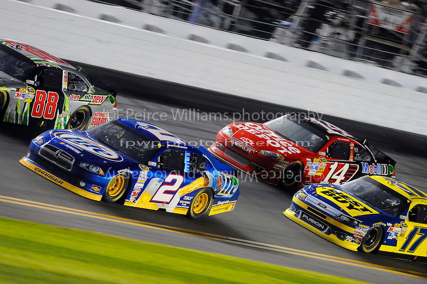Brad Keselowski (#2), Dale Earnhardt,Jr. (#88), Tony Stewart (#14) and Matt Kenseth (#17).