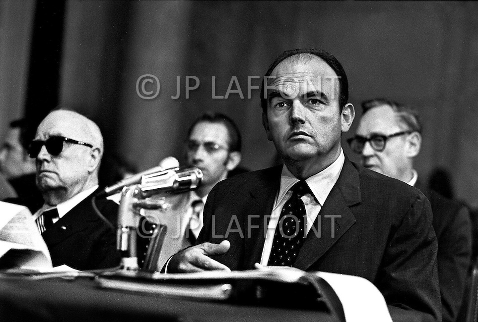 Washington DC, 1973. Former Nixon aide John Ehrlichman testifies at Watergate hearings. A break in at the Democratic National Committee headquarters at the Watergate complex on June 17, 1972 results in one of the biggest political scandals the US government has ever seen.  Effects of the scandal ultimately led to the resignation of  President Richard Nixon, on August 9, 1974, the first and only resignation of any U.S. President.
