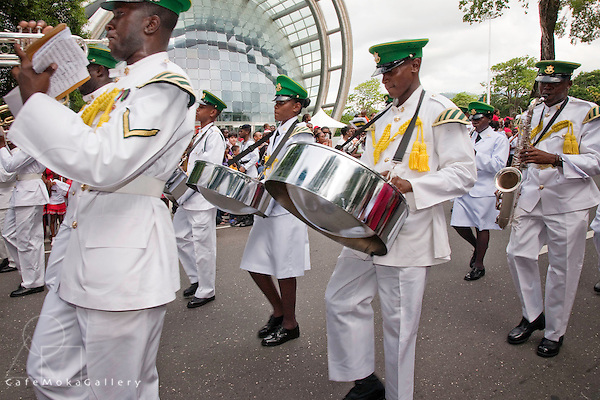 Military parade, Defence Force band, pan and sax, Independence Day 2010, Port of Spain outside NAPA