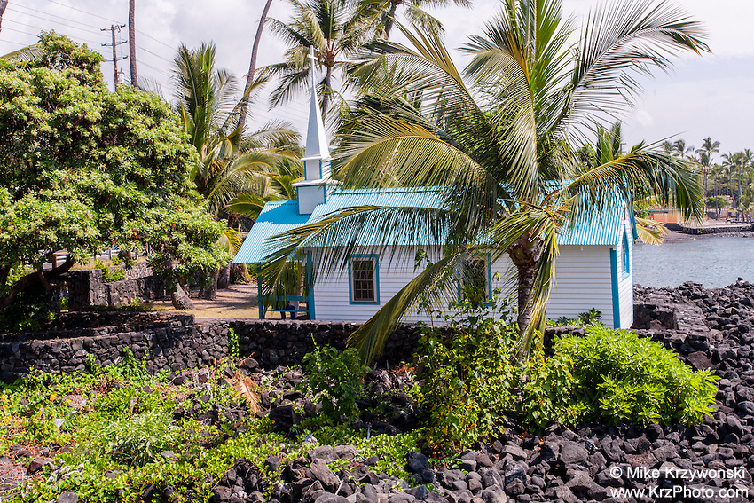 "St. Peter's by the Sea Catholic Church aka ""Little Blue Church"" in Kailua-Kona, Big Island, Hawaii"